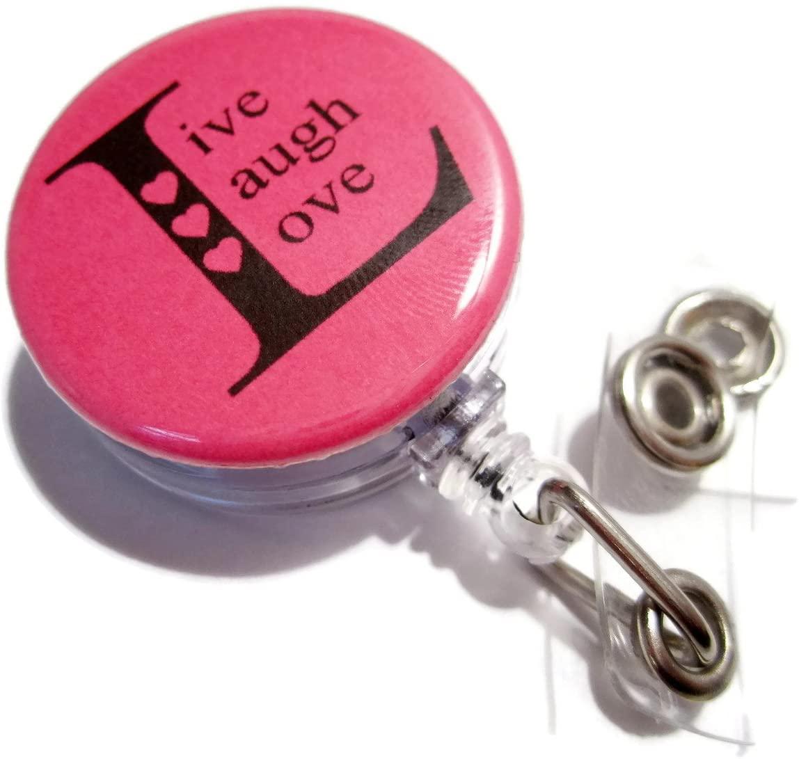 ATLanyards Live Laugh Love Badge Reel, Work Id Holder, Retractable Lanyard, Bright Pink 266
