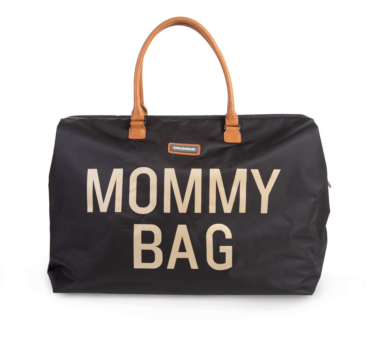 CHILDHOME Mommy Bag Big - Functional Large Baby Diaper Travel Bag for Baby Care. (Black Gold)