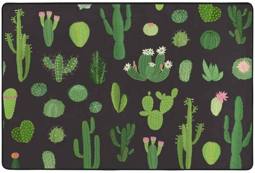 My Little Nest Cactuses in Sketchy Kids Play Mat Baby Crawling Carpet Non Slip Soft Area Rug for Living Room Bedroom Dining Room Classroom Floor Mat Lightweight 4' x 6'