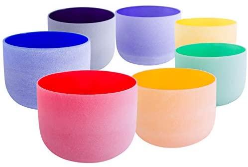 ENERGYSOUND 8-10 Chakra Tuned Set of 7 Colored Frosted Quartz Crystal Singing Bowl 8-10 Crystal Singing Bowl Yoga Bowl Sound Healing Instrument Yoga Meditation Sound Therapy