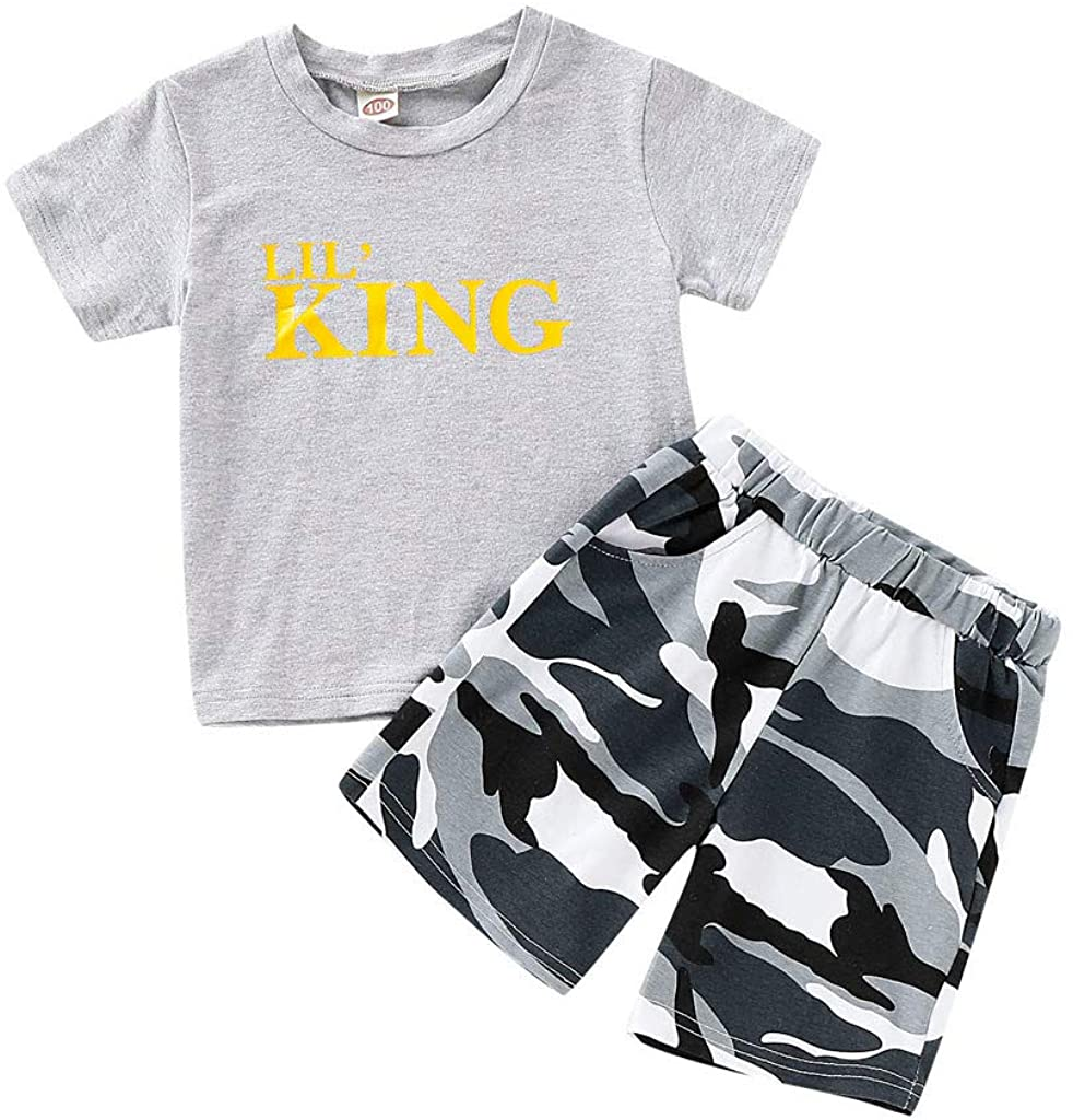 Jumaocio Children's Wear Infant Baby Boy Kid Letter Printed T Shirt Tops+Camouflage Shorts Outfits Set (70,80,90,100,110)