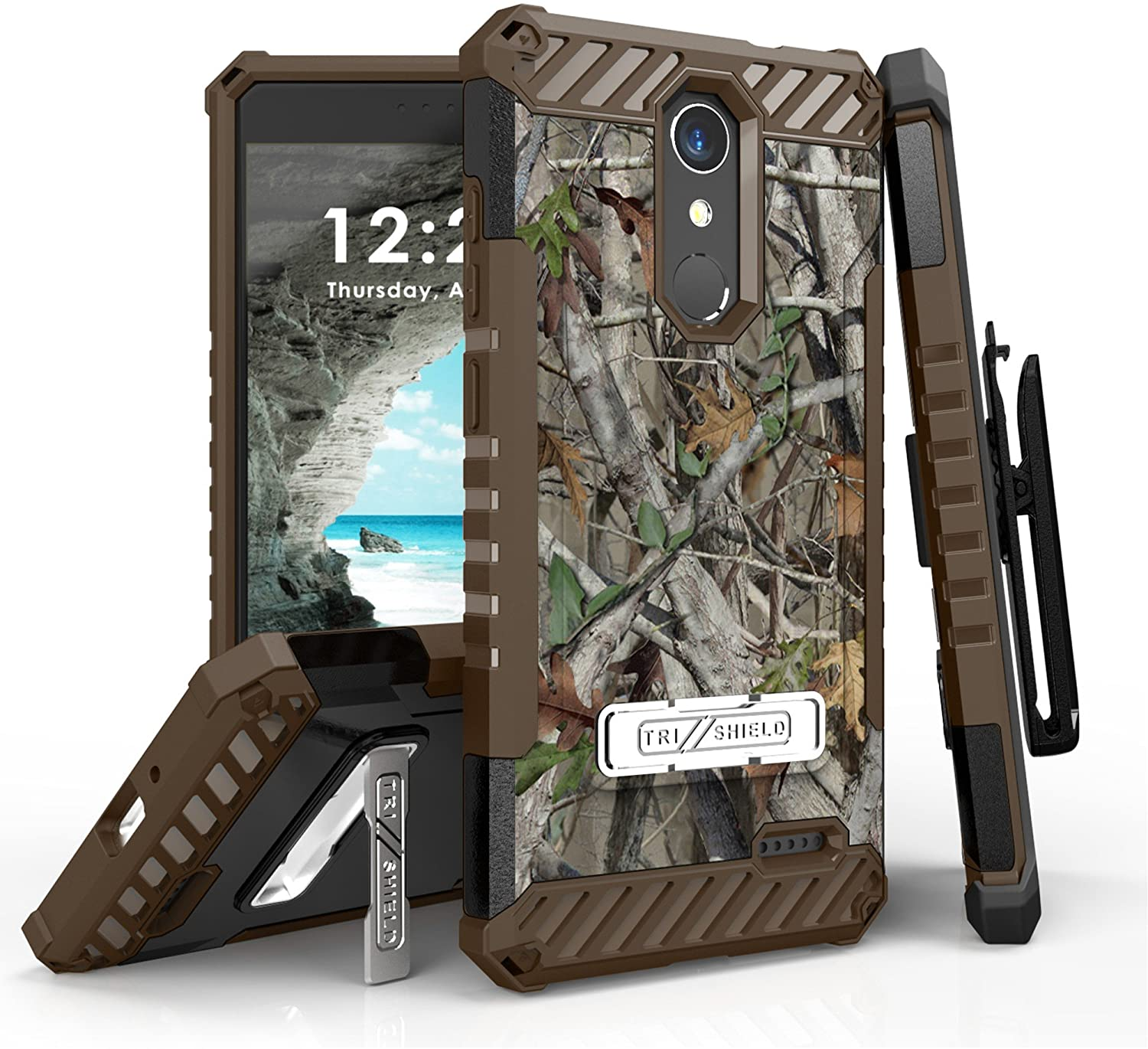 Beyond Cell Tri-Shield Case Compatible with ZTE Blade Spark Z971, Max One LTE Z719DL, Grand X 4 Z956 - Military Grade Protective Phone Cover with Swivel Belt Clip Holster - Camo
