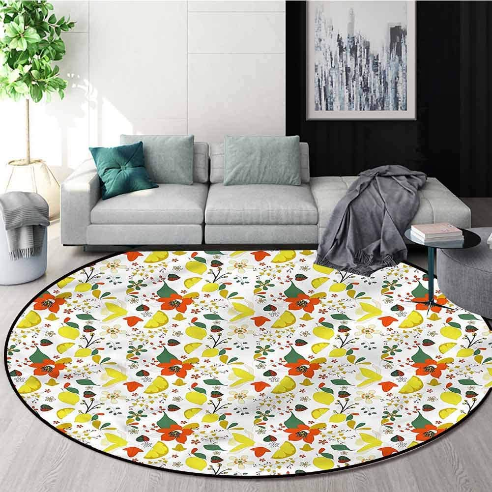 Floral Modern Flannel Microfiber Non-Slip Machine Round Area Rug,Spring Lemons Leaves Non-Skid Bath Mat Living Room/Bedroom Carpet Round-39