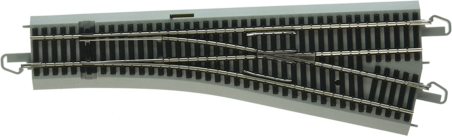 Bachmann Trains - E-Z COMMAND DCC EQUIPPED #4 TURNOUT – RIGHT - NICKEL SILVER E-Z TRACK With Grey Roadbed - HO Scale