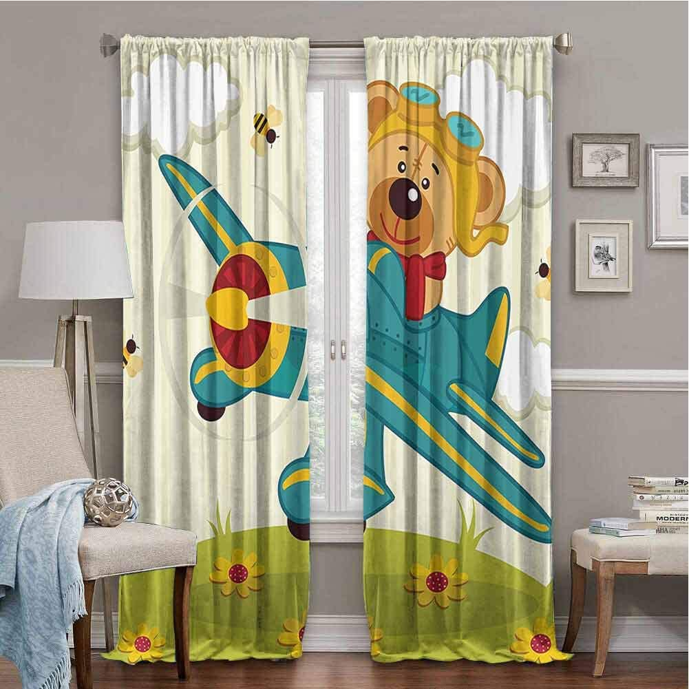PGREA Baby Room Curtains Cartoon Decor Teddy Bear Flying on Airplane in Clouds on Floral Field Child Kids Nursery Design Multi 96x108 Inch