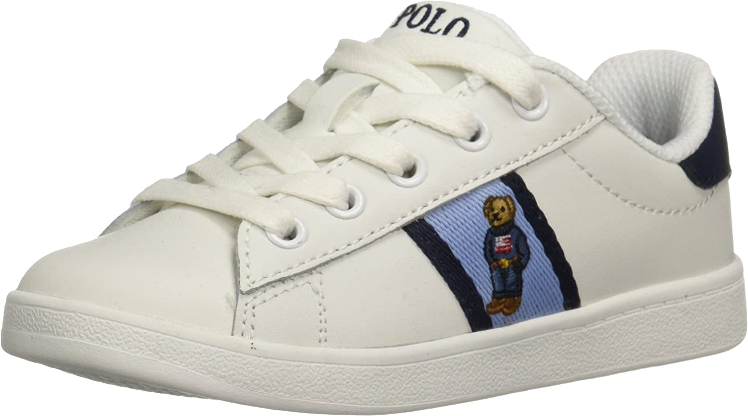 Polo Ralph Lauren Kids Boys' QUILTON Bear Sneaker, White Leather Blue/Navy Striping, 4.5 Medium US Big Kid