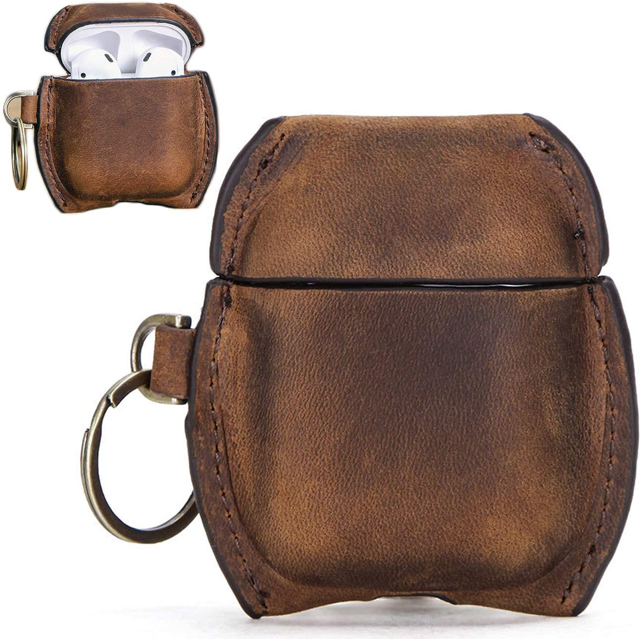 Personalized AirPods Leather Case with Keychain, Snap Closure Genuine Leather Case Shockproof Cover for Apple AirPods 1 Case & Airpods 2 Case Universal Leather Airpod Wireless Charging (Brown)