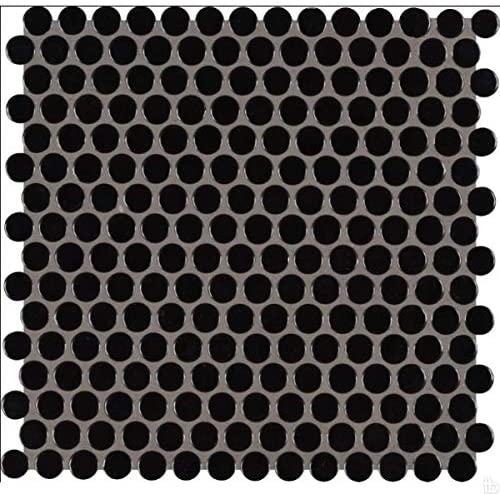 Domino Black Glossy Penny Round Mosaic,20 SFT/Case(20 Pcs)