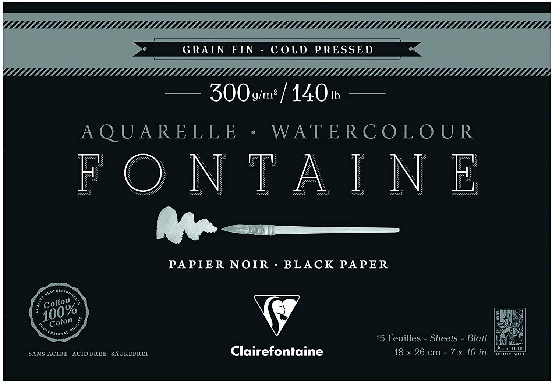 Clairefontaine 975302C – A Glued Pad 4 Sides Watercolour Paper Fountain 15 Fine Grain Sheets Black 18 x 26 cm 300g