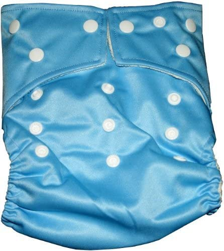 Bamboo Pocket Snaps Cloth Diaper/ Nappy BubuBibi - OS - BLUE (Includes 2 Inserts)