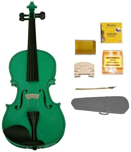 GRACE 1/2 Size Green Acoustic Violin with Case and Bow+Rosin+2 Sets Strings+2 Bridges+Tuner