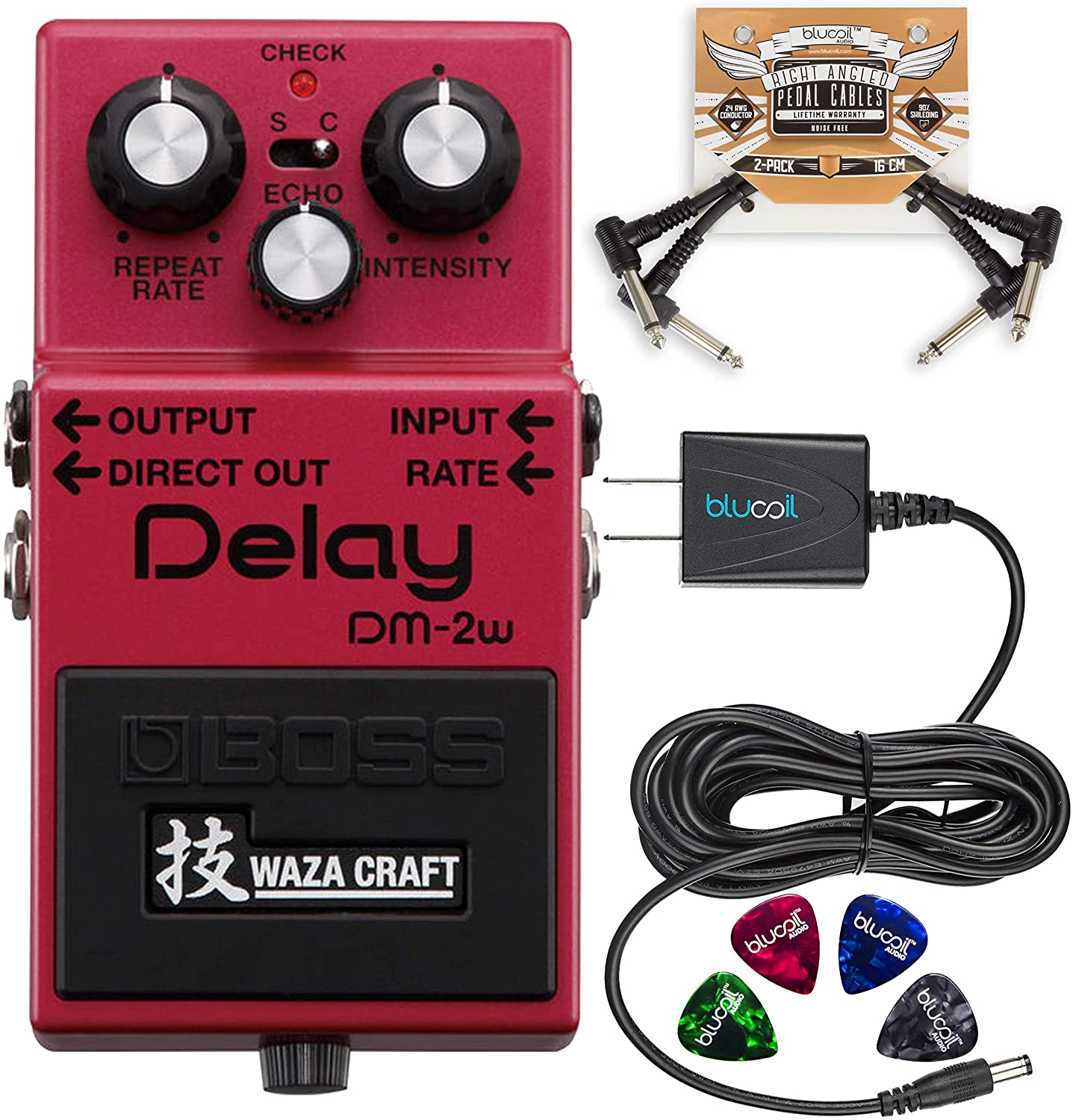 BOSS DM-2W Waza Craft Analog Delay Pedal Bundle with Blucoil Slim 9V Power Supply AC Adapter, 2-Pack of Pedal Patch Cables, and 4-Pack of Celluloid Guitar Picks