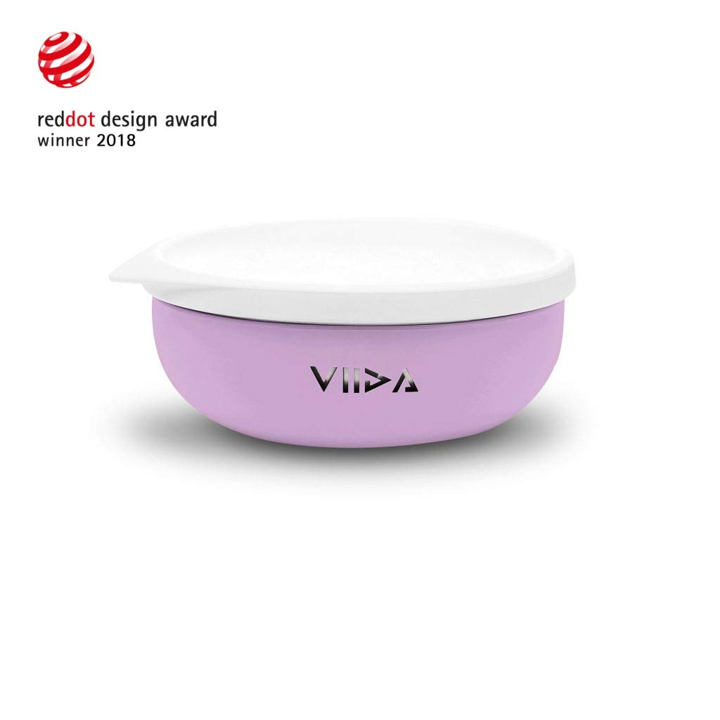 VIIDA Soufflé Stainless Steel Bowl - Baby Bowl with Lid - Stainless Steel Children Tableware - Baby Utensils - 430 ml/14.5 oz - Lavender Purple