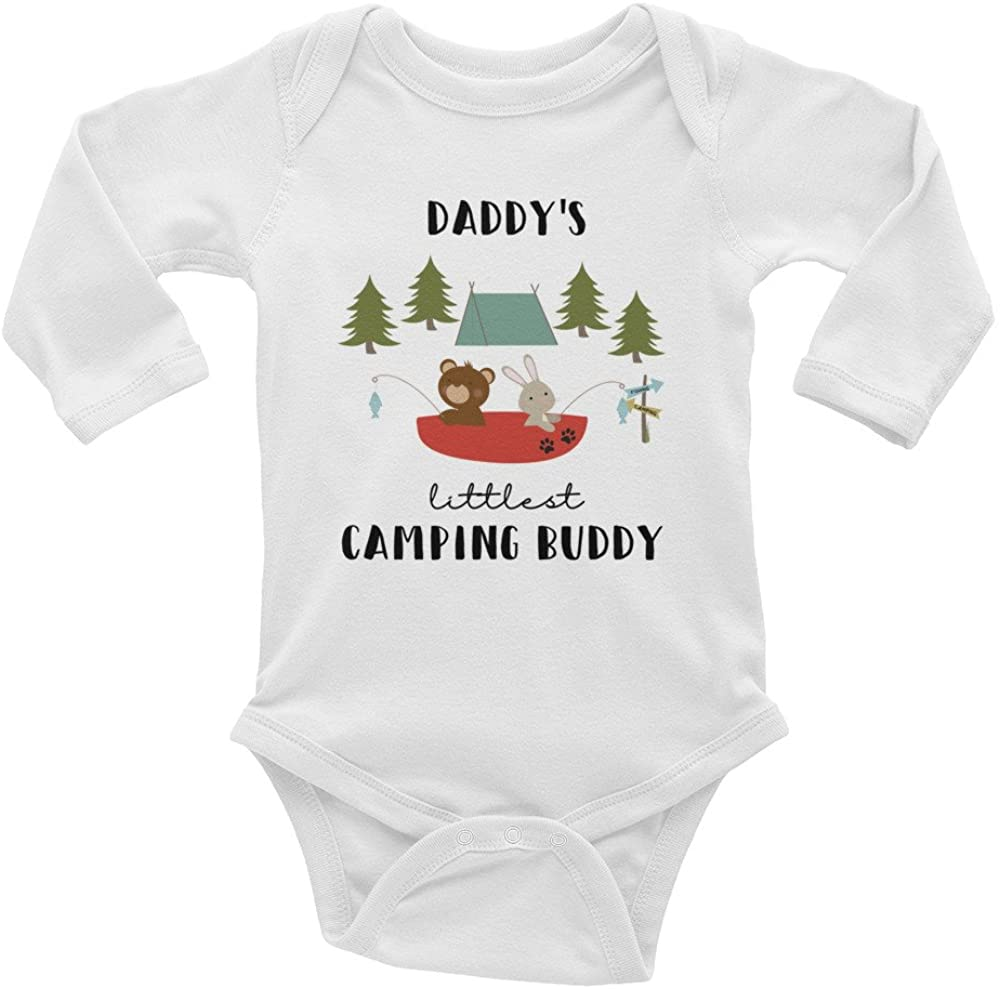 Daddy's Littlest Camping Buddy Long Sleeve Onesie//Pregnancy Announcement Onesie Hiking Buddy//Fishing Buddy