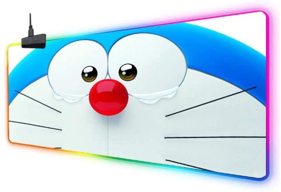 Mouse Pads Gaming RGB Mouse Pad Doraemon Blue Large Led Fashion Glow Big Mice Mat for Pc Laptop Rubber Base Mouse Mat 400800Mm