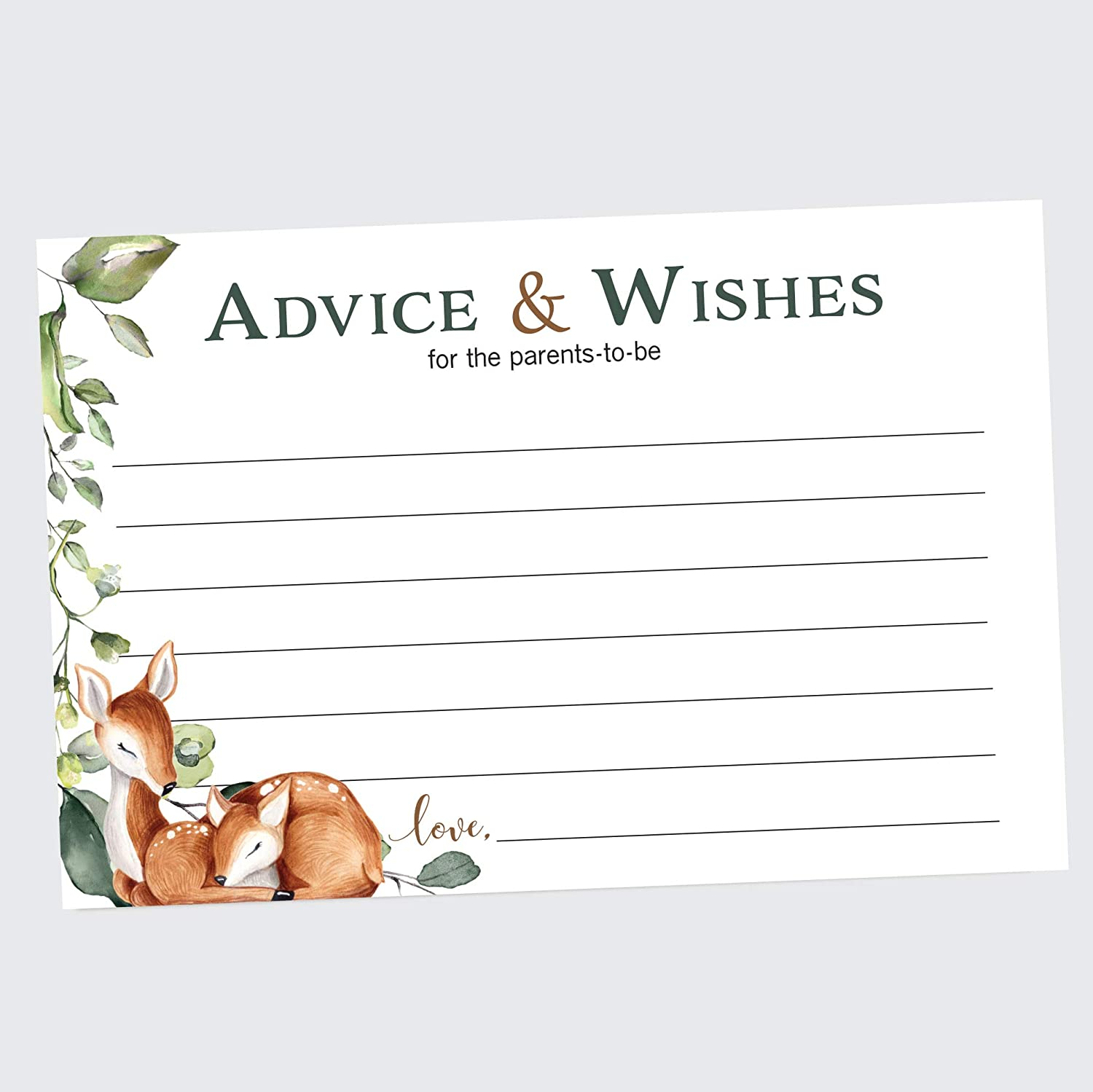 Oh Deer! Advice and Wishes Cards, Set of 50, Advice Cards for Baby Shower, Woodland Baby Shower Advice Cards