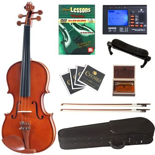 Cecilio CVN-200 Solid Wood Violin with Tuner and Lesson Book, Size 1/2