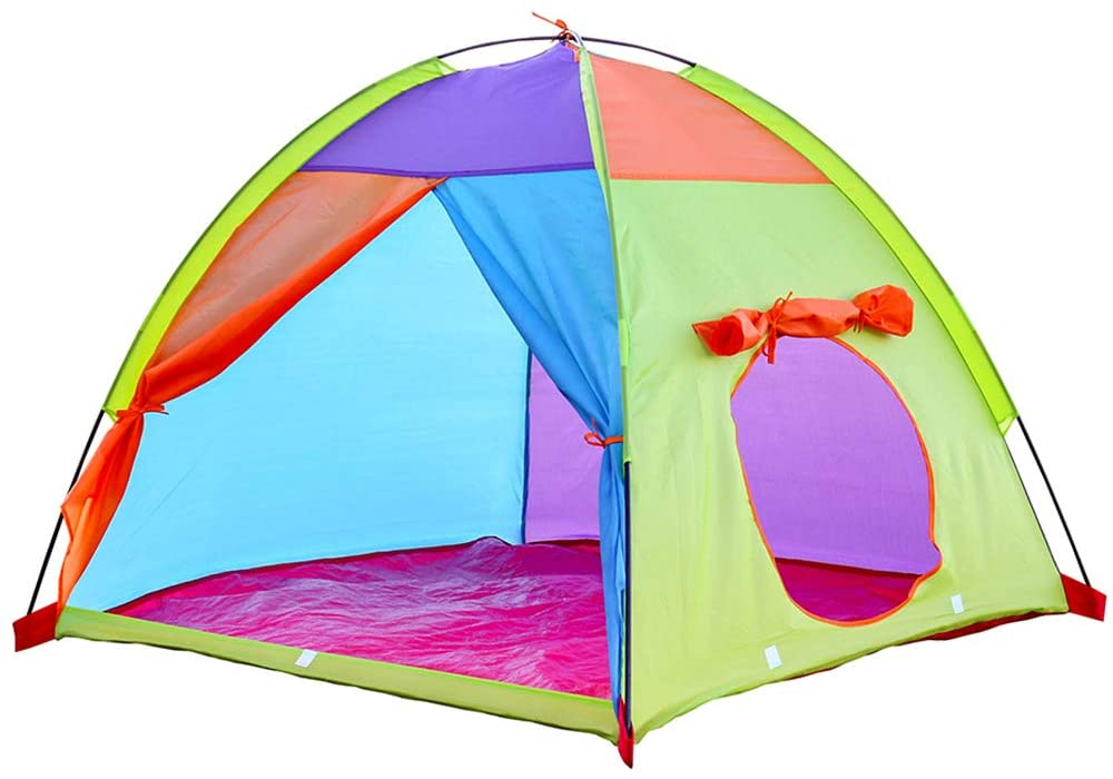 """Watnature Play Tent for Kids Indoor/Outdoor, Playhouse Pop Up Tent for Girls Boys Toddler, Children Fun Ventilation & Easy Setup Tents with Large Space for Camping (39""""×39""""×35"""", Multicolor)"""