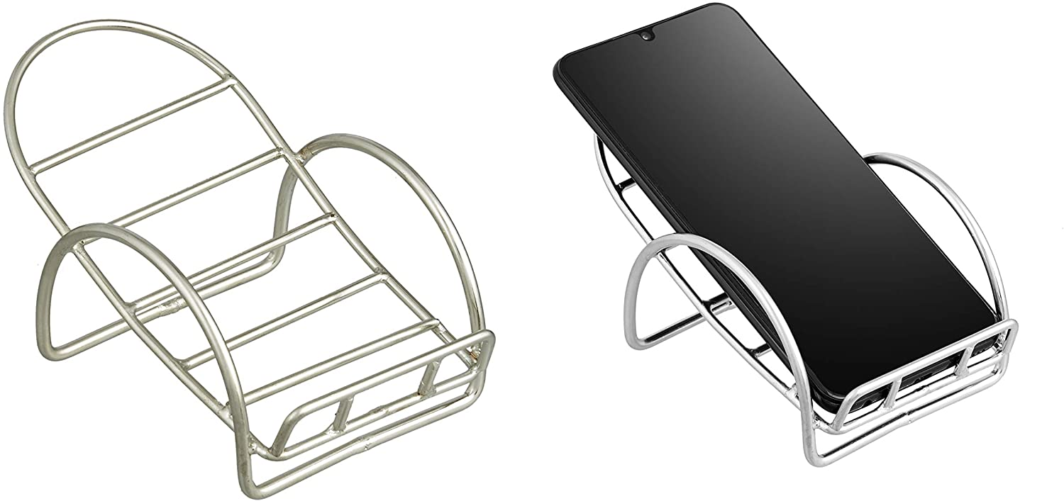 Cell Phone Stand (Silver Color) - Mobile Phone Holder - Universal Mobile Stand - Fits for All Android Smartphones Samsung S10 S9 Note 10 & iPhone 11 Pro Xs Max Xr X 8 7 6 6s - Desk Accessories