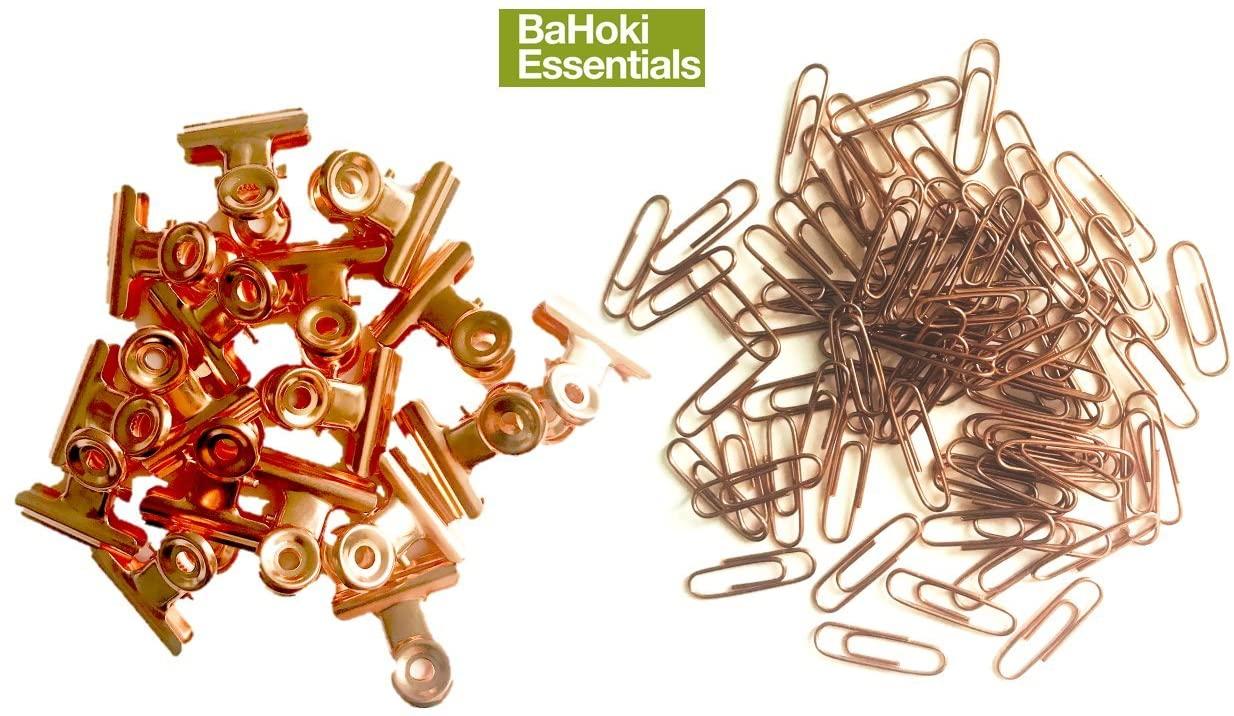 BaHoki Essentials Rose Gold/Copper Metal Desk Accessories (Set of Paper Clips.Bulldog Clips)