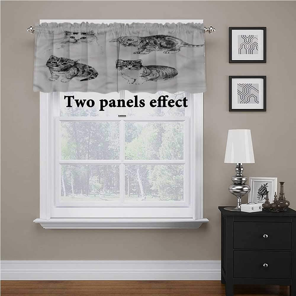 shirlyhome Cats Bedroom Curtains Cute Playful Kitties Animals for Kids Room/Baby Nursery/Dormitory, 60 Inch by 18 Inch 1 Panel