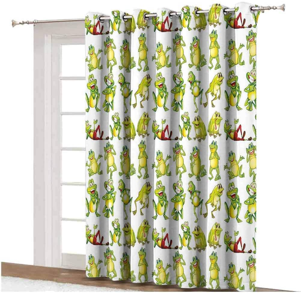 Nursery Blackout Curtain Frogs in Different Positions Funny Happy Cute Expressions Faces Toads Cartoon Thermal Backing Sliding Glass Door Drape ,Single Panel 80x84 inch,for Patio Door Green Yellow Red