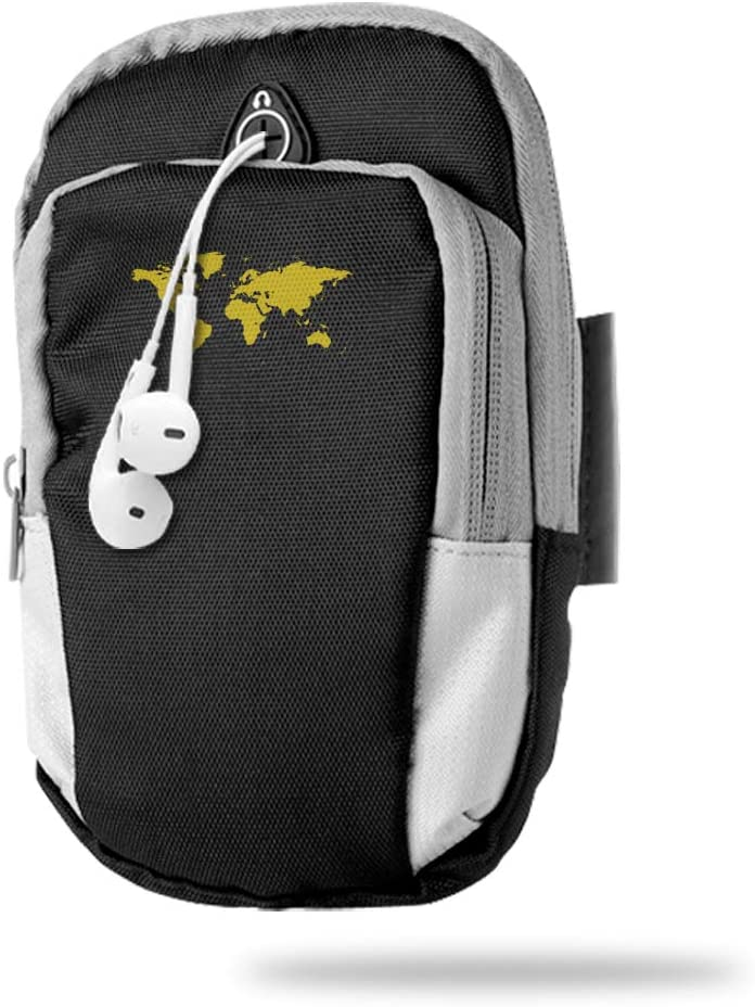 Sports Arm Bag Free Gym Phone Armbands Cell Phone Arm Holder Map of The World Pouch Case with Earphone Hole for Running for Men Mini Shoulder Bag Travel Women Kids Handbag
