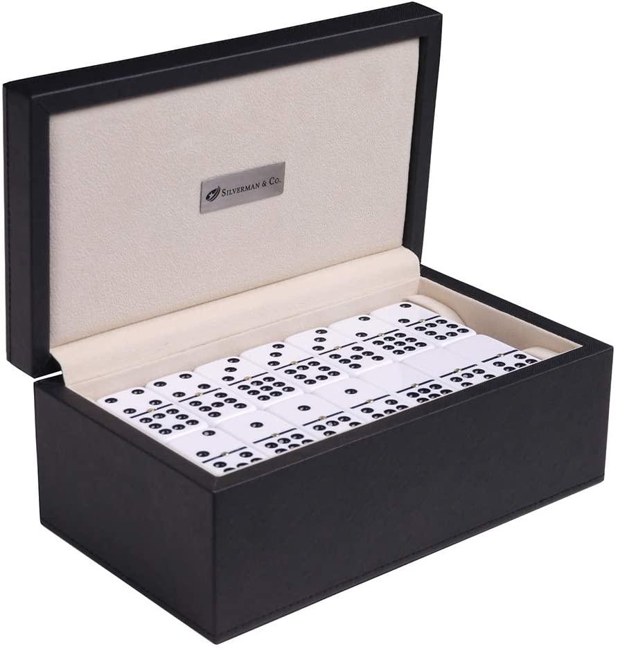 Silverman & Co. Double 9 Large White Domino Set - Black Case