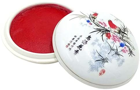 MEGREZ Red Ink Paste Calligraphy Stamp Seal Painting Chinese Yinni Pad, Red Seal Ink Pad 60g (2.11 oz)