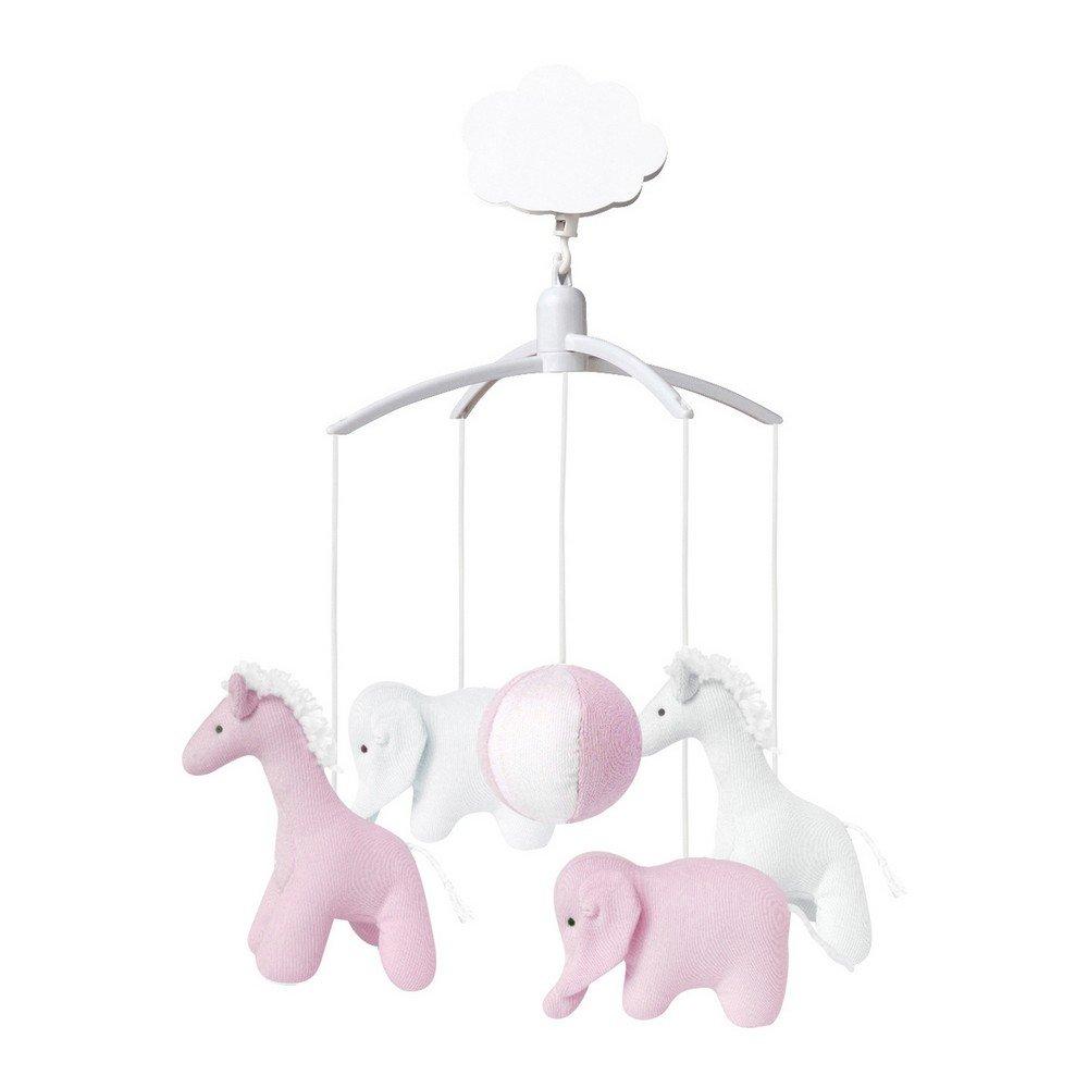 Trousselier VM1149 03 Mobile Musical Giraffe / Elephant Pink / White