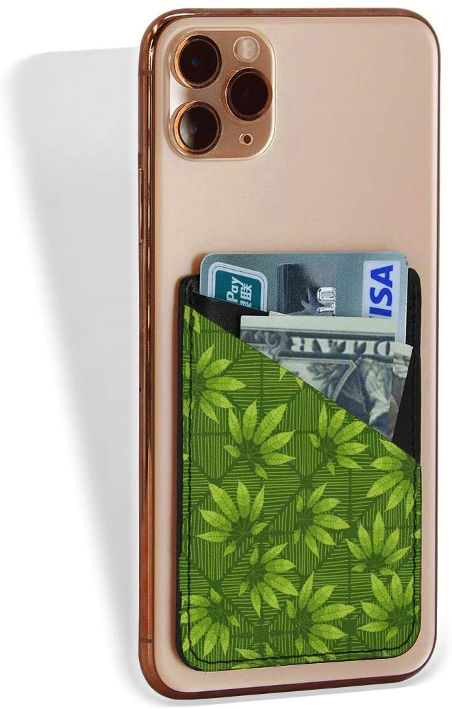 SLHFPX Back of Phone Credit Card Holder Green Leaves Background Phone Pocket Stretchy Leather Stick On Id Card Wallet Cell Phone Case Pouch Sleeve Pocket for All Cellphone Smartphones