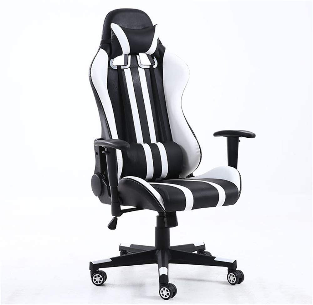 JFGUOYA Office Gaming Chair, High-Back Racing Chair with Swivel Function, Back Support and Adjustable Headrest&Lumbar Cushion,White