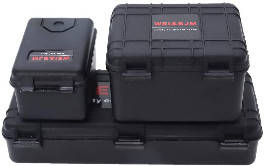 REhobby 3Pcs 1/10 Mini Toolbox Trunk Decoration Accessories for 1:10 RC Crawler Car Traxxas Trx4 Axial Scx10 90046 CC01 D90 D110 (Black)