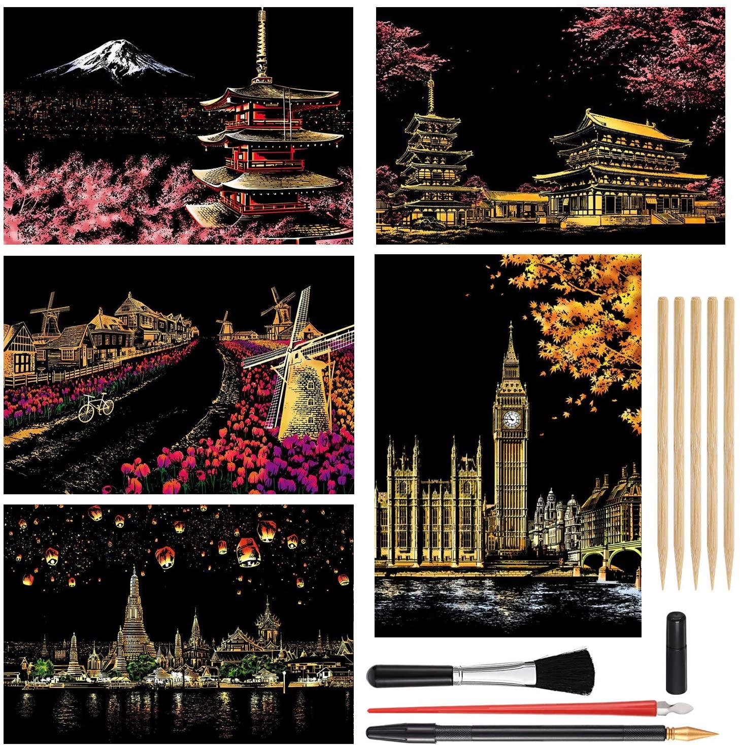 MIASTAR Scratch Painting Kits, Craft Art Set for Adults & Kids, Rainbow Scratch Painting Paper 16''x11.2'', DIY Scratchboard, 5 Pack with 9 Tools(Mount Fuji / Sakura / Holland / Big Ben / Chiang Mai)
