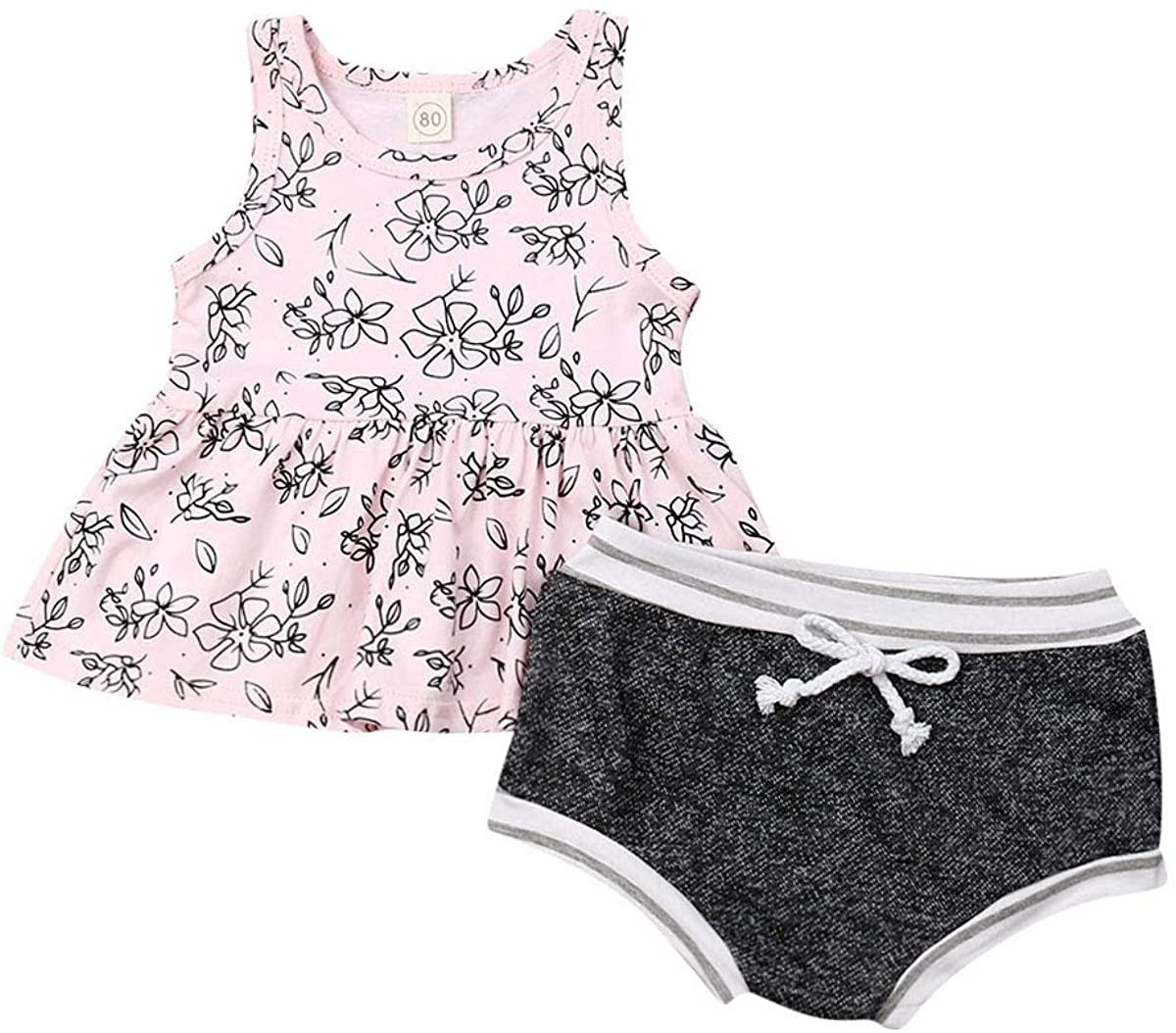 Toddler Kid Baby Girl Floral Sleeveless Top Dress T-Shirt Shorts Bottoms 2Pcs Summer Outfits