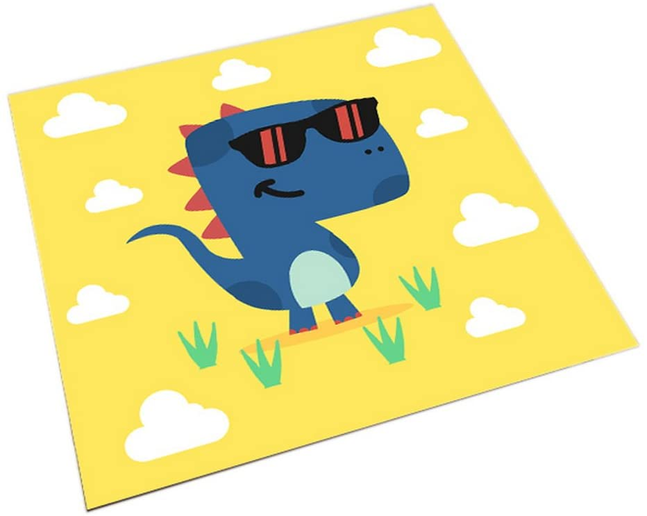Gentle Meow Square Cute Cartoon Children's Rugs, Yellow and Cool Cartoon Dinosaurs