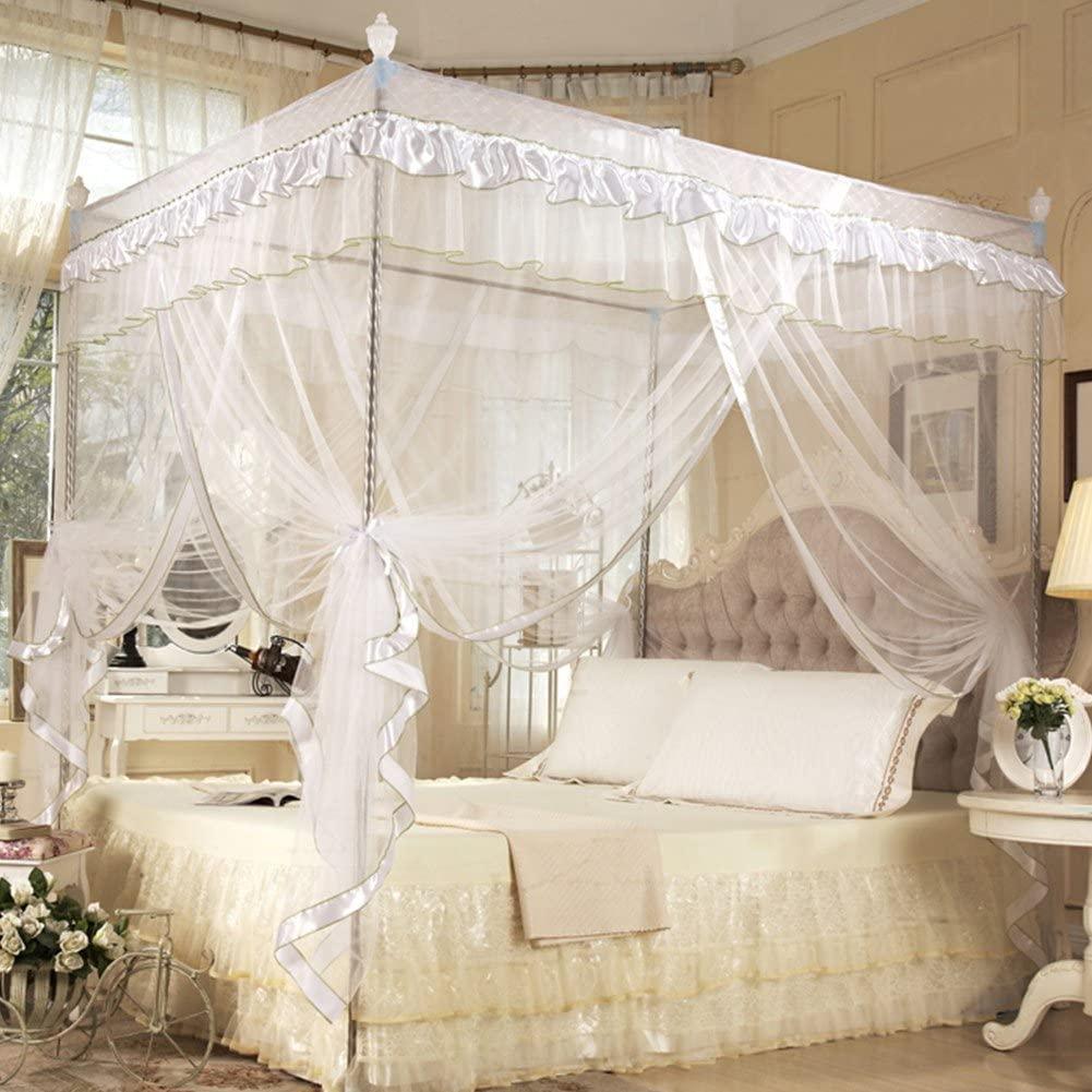 Mosquito Net, Luxury Princess Four Corner Post Bed Curtain Canopy Netting Mosquito Net Bedding Four Corner Mosquito Net for Bedroom durable (No Bracket)(White 1.2x2M)