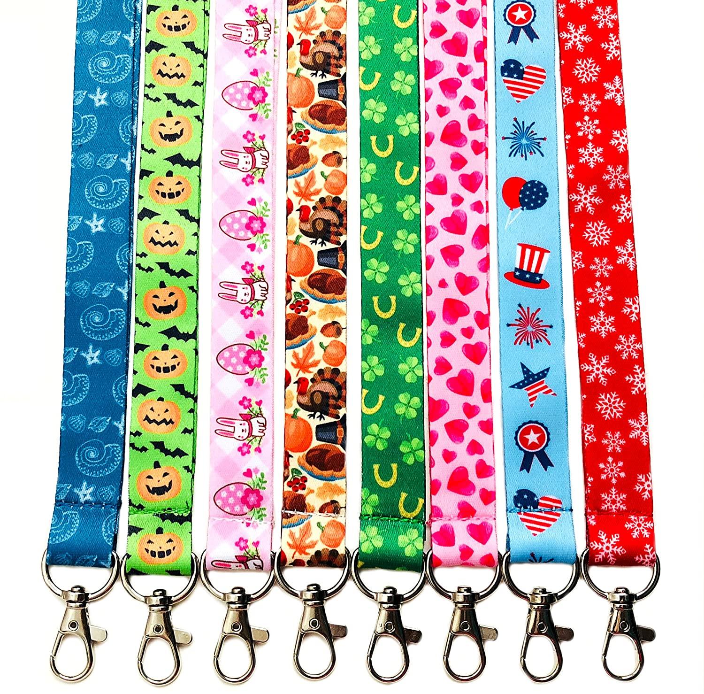 Break Away Holiday Themed Set of 8 Lanyard Key Chain Id Badge Holder