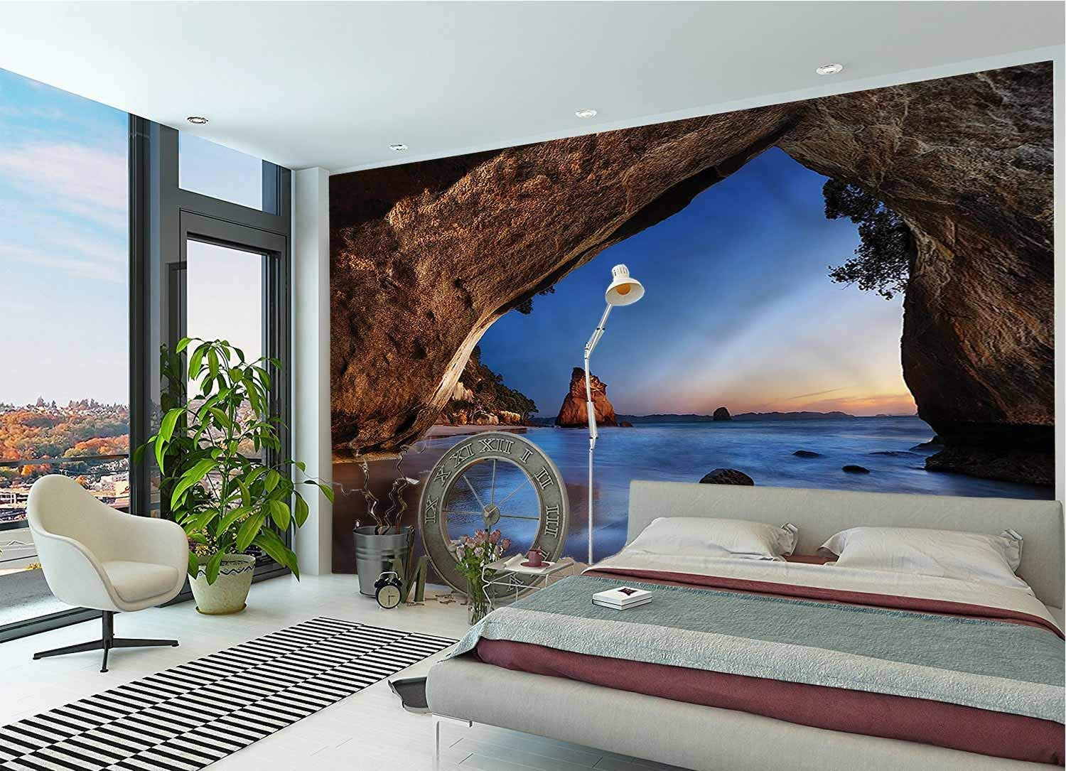 LCGGDB Natural Cave Large Wall Mural,New Zealand Dream Land Removable Large Sticker Foil Wall Decor for Office Kids Bedroom Nursery Family Decor-118x83 Inch