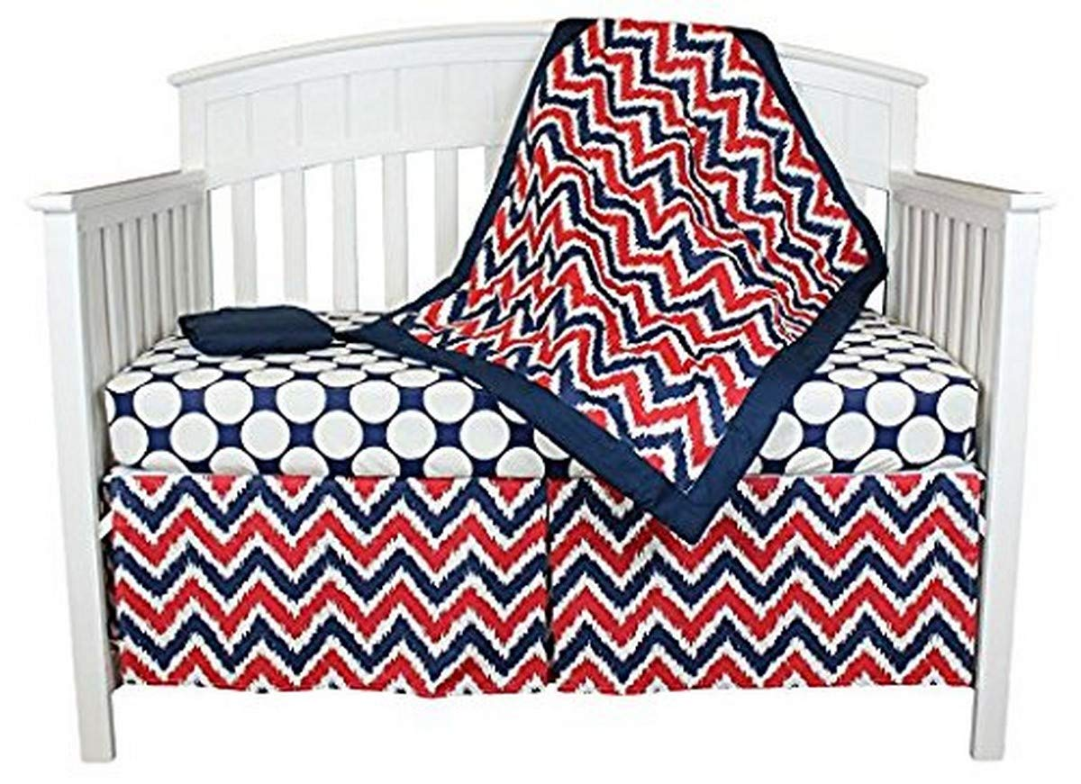 Bacati Zig Zag 4 Piece Crib Bedding Set, Blue/Red