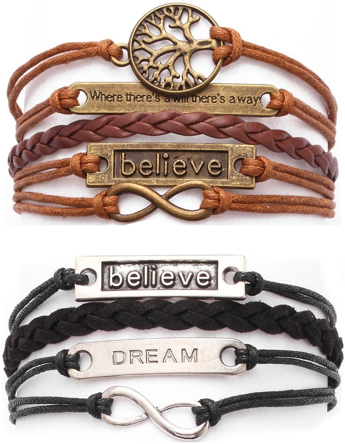 Fpxnb 2 Pack Handmade Bracelets, Leather Wrap Accessories on Wrist, Angel Wings Love Faith Owl Motto Tree Bird Tortoise Cloud Dream Believe (Set of 2)