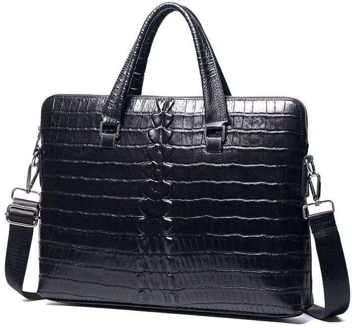 ZZBD Carry On Large Laptops Men's Genuine Leather Crocodile Embossed Formal Handbags Laptop Briefcase Satchel Shoulder Handbags Perfect Briefcase for Business Men Or Women (Black)