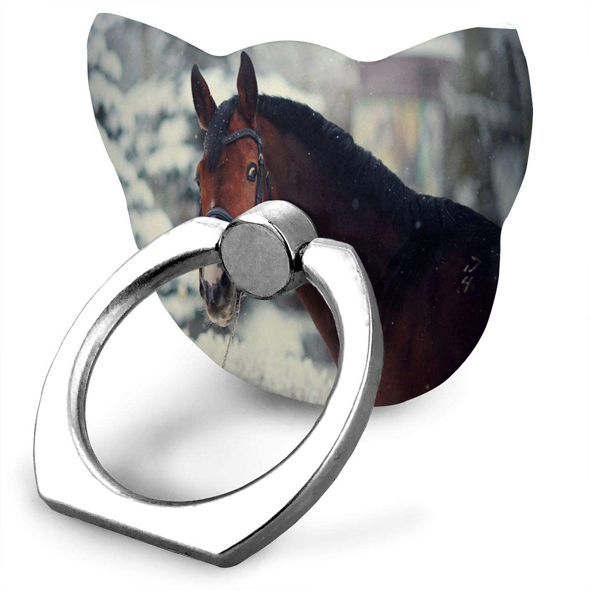 Universal Phone Ring Holder Beautiful Cute Funny Horse Animal Cat Shape Cell Phone Ring Stand Adjustable Finger Kickstand Grip-Silver Mobile Phone Stand for Women Kids Men Ladies Smartphones