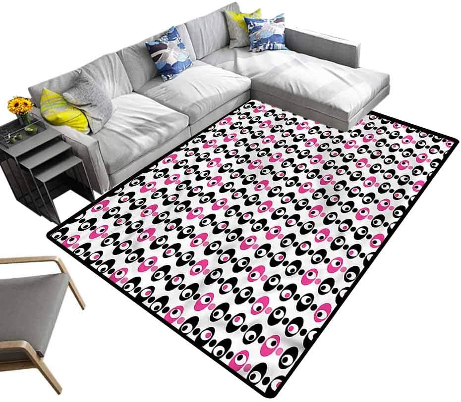 Geometric, Nursery Area Rug Retro Vibes with Dots Kids Playing Mat Suitable for Baby Nursery Decor, 6'x 9'