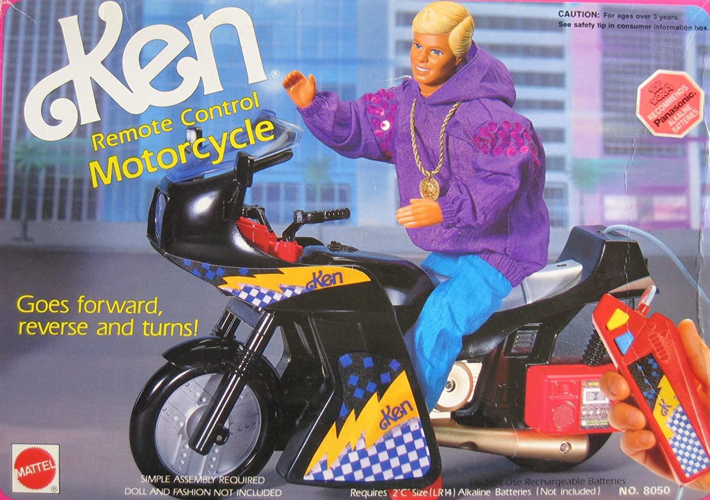 Barbie KEN Remote Control MOTORCYCLE - Goes Forward, Reverse & Turns! (1992 Arcotoys, Mattel)