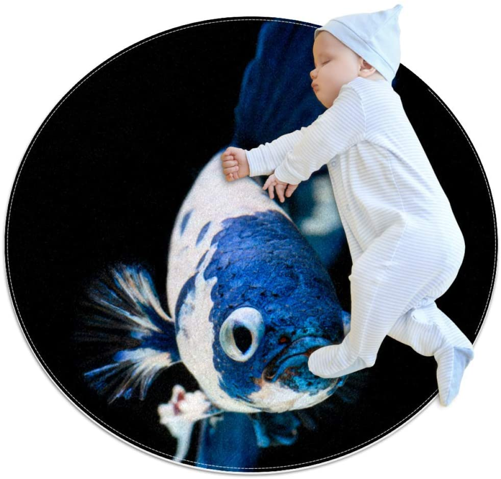 White Blue Fish Baby Crawling mat Home Decorative Carpet Soft and Washable Pad Non-Slip for Kid's Toddler Infants Room 2feet 3.5inch