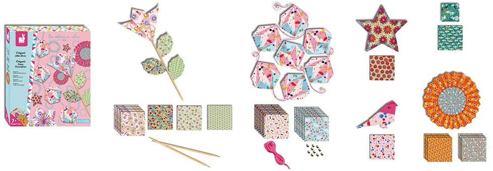 Janod Crafts – No Mess Origami Delightful Decoration – Creative, Imaginative, Inventive, and Developmental Play -- STEAM Approach to Learning – Ages 7+, Model Number: J07887