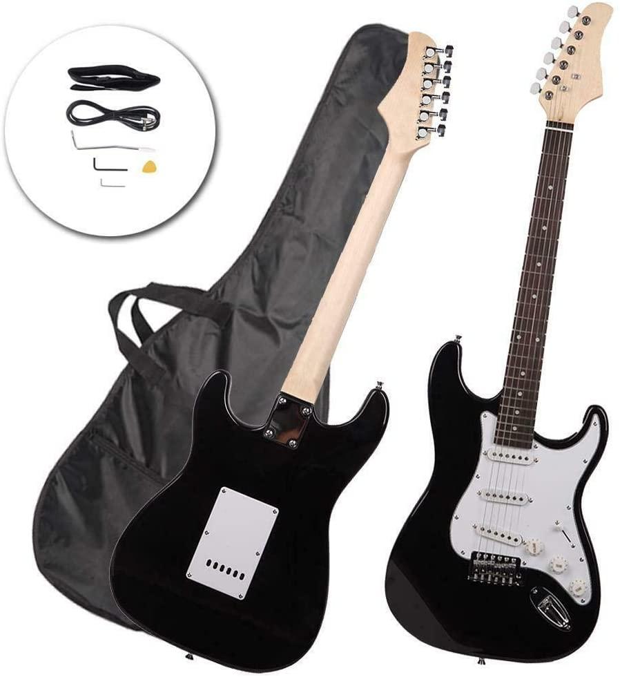 Rose Wood Fingerboard Electric Guitar Black + Gigbag + Cord + Strap + Accessories ~ Yael