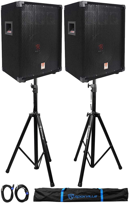 (2) Rockville RSG10 10 400 Watt 2Way 8-Ohm Passive DJ PA Speaker +Stands +Cables