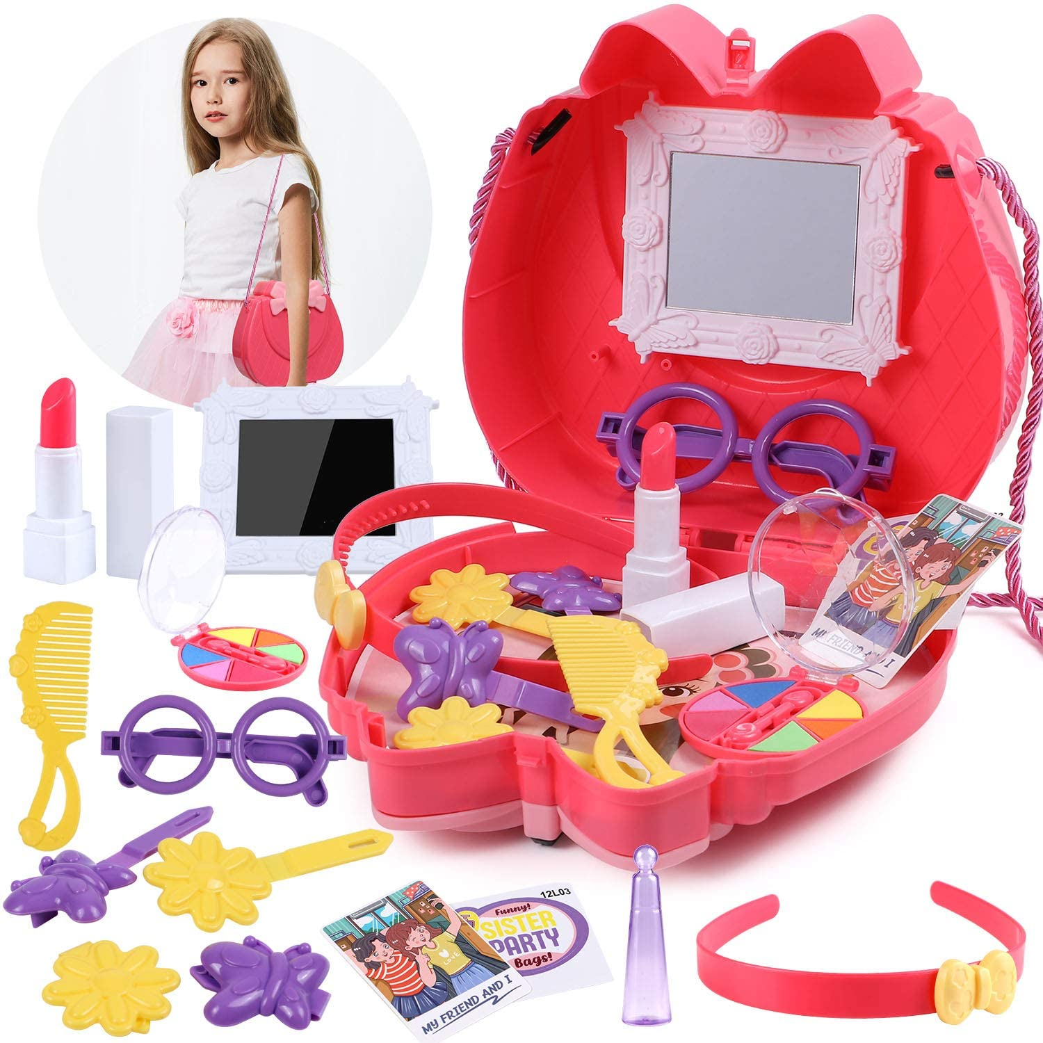 Latocos Pretend Makeup for Girls Play Make Up Kit with Mirror Comb Makeup Toy Cosmetic Set Birthday Gifts for Toddlers Kids
